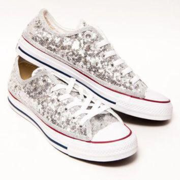 QIYIF tiny sequin silver canvas converse all star low top sneakers shoes
