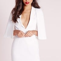 Missguided - Cape Overlay Shift Dress White