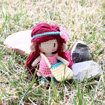 Waldorf Inspired Crochet Doll: Amugurumi Girl, Pretend Play, 3 Inch Doll