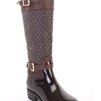 Brown Stitched Rubber Rain Riding Boots Faux Leather