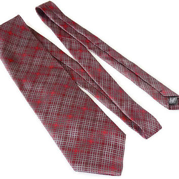 Extra Long Silk Tie,KENNETH COLE New York,New Old Stock  Unused Vintage Tie,Big & Tall Necktie,Handmade Tie,Dark Red and Grey Plaid Design