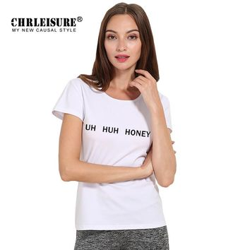 CHRLEISURE S-3XL Summer Women T Shirt UH HUH HONEY Letters Print White Grey Black Simple Loose T Shirt Plus Size Women Tops