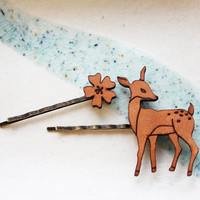 Hair Pin Flower & Deer Set by iluxo on Etsy