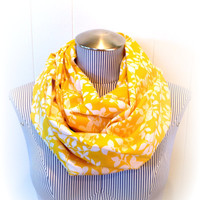 Yellow Infinity Scarf Pretty Goldenrod Leaves by VintageDutchGirl