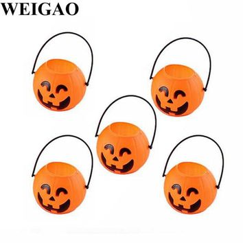 WEIGAO Halloween Party Decorations Pumpkin Trick Treat Loot Sweet Candy Barrel Holder Candy Box Happy Halloween Party Supplies