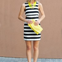 Bandeau Style Sheath Dress- Striped Dress with Side Cut Outs-$75.00 | Hand In Pocket Boutique