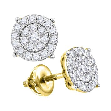 10kt Yellow Gold Womens Round Diamond Concentric Circle Cluster Earrings 1/4 Cttw