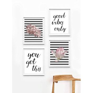 Inspirational Quote, Wall Art Set, Unframed