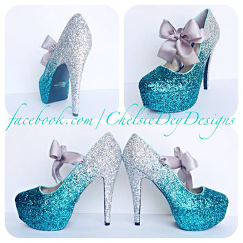 Teal Ombre Glitter High Heels