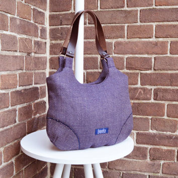 Blue purse simple minimalist medium purse handbag shoulder bag canvas bag real genuine leather brown straps elegant everyday purse linen bag