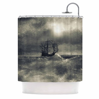 "Viviana Gonzalez ""Chapter III"" Dark Ship Shower Curtain"