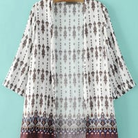 Multicolor Long Sleeve Printed Slim Kimono