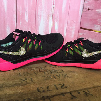 SIZE 6.5 Blinged Womens Nike Free 5.0 Running Shoes Black Pink Customized With Swarovski Crystal Rhinestones New in Box Bling