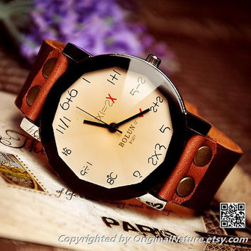 Wrist watch Handmade Wristwatches Vintage Ladies Girls Womens Mens Leather Bangle Bracelet Quartz Watches (WAT0005-CHAMPAGNE)