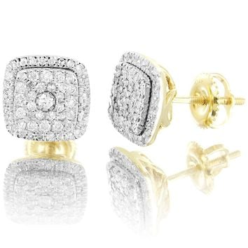 10k Gold Solitaire Micro Pave Square 0.5 Ct Real diamonds Stud Earrings