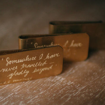 Vintage Money Clip Hand-Engraved with Quote from ee cummings..Somewhere I have never travelled..