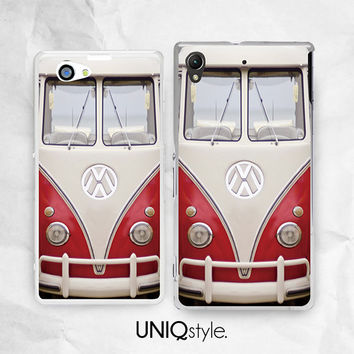 VW Minibus phone case for Sony Xperia z z1 z1s z2 z1Compact - Xperia M, M2, Z Ultra, T2 Ultra case - retro Volkswagen bus phone cover - A20