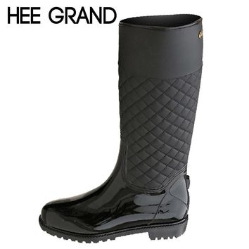 HEE GRAND Rain Boots Rubber Platform Shoes Woman 2017 Knee-High Women Boots Casual Creepers Slip On Flats Women Shoes XWD4579