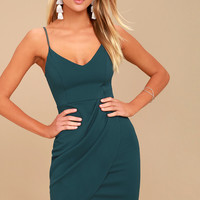 Forever Your Girl Teal Blue Bodycon Dress