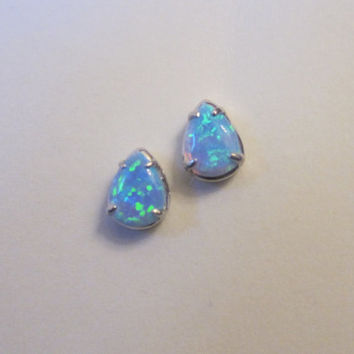 White Gold Over Sterling Silver Blue Opal Teardrop Stud Earrings, Opal Earrings, Dainty, Gift for Mom, Gift for Sister.