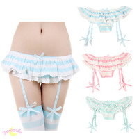 3 Colors Good Quality J-fashion Kawaii Removable Straps Stretch Laces Panties SP130049