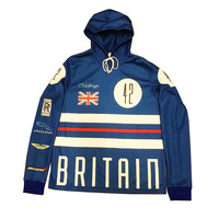 Club Foreign British Hooded Sweatshirt In Blue