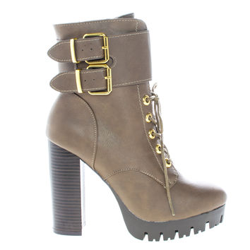 Veronica08 Taupe Pu By Wild Diva, Lace Up Combat Lug Sole Platform Stacked High Heel Ankle Boots