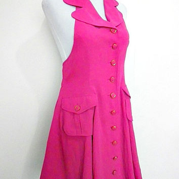 vintage carnation pink halter backless military mini dress (1980s Retro Mod)