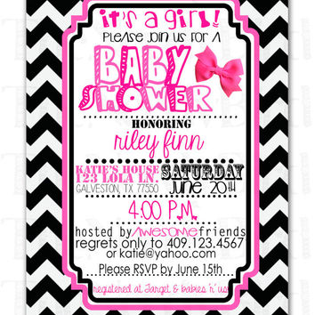 Shop black baby shower invitations on wanelo black and white chevron pink bow printable baby girl shower invi filmwisefo