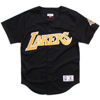 Los Angeles Lakers Mesh Button Front Jersey Black