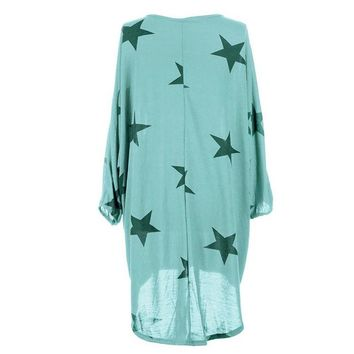 Women Fashion High Low Star Printed Loose Tops/Short Dress