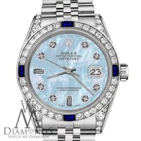 Unisex Rolex 36mm Datejust Baby Blue MOP Dial with Sapphire & Diamond Bezel