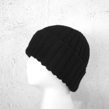 Black Watch Cap, Knit Hat, Merino/Acrylic, Teens Men Women, Simple Beanie