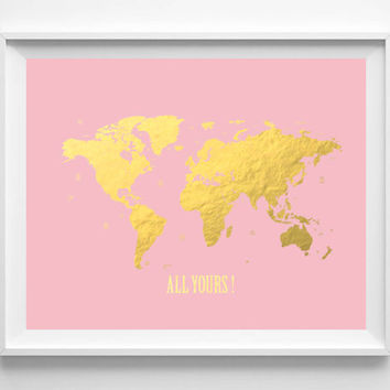 Shop Gold Foil World Maps On Wanelo - Pink world map poster
