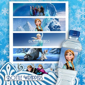 Frozen - Bottle Wrappers - High Quality 300 DPI- Customized -Party Printables