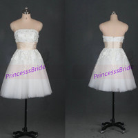 Short champagne tulle and ivory laceprom gowns,cheap strapless women dress in 2014,chic wedding dresses hot.