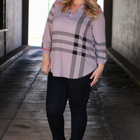 You Look So Good In Plaid Tunic With Roll Tab Sleeves ~ Mocha ~ Sizes 12-18