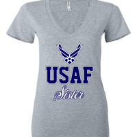 U.S. Air Force Sister Women's Deep V-Neck T-Shirt