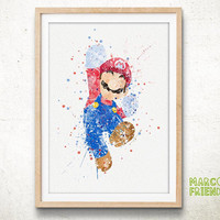 Super Mario Bros, Nintendo - Watercolor, Art Print, Home Wall decor, Watercolor Print, Super Mario Poster