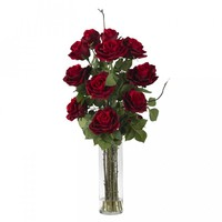 Roses With Cylinder Vase Silk Flower Arrangement