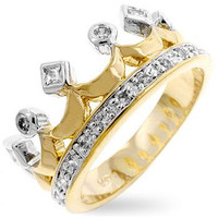 Two Tone Crown Ring, size : 06