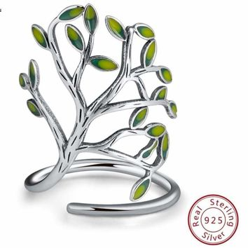 Beautiful Olive Tree Branch Silver Ring