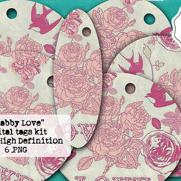 Digital Tags - Shabby Gift Tags - Printable Tags - PNG Lables Kit - Blushing Pink - Roses Clipart - Scrapbooking Elements - Vintage Flowers