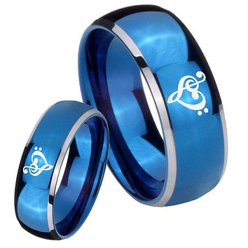His Her Glossy Blue Dome Music & Heart Two Tone Tungsten Wedding Rings Set
