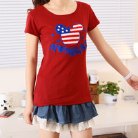 Spring Cute Mickey Mouse USA Short Sleeves Tee