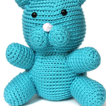 "8"" Crocheted stuffed Cat, Amigurumi Kitty Cat, Turquoise Blue, Crochet Stuffed Kitten, Amigurumi Stuffed Cat, Handmade, Emmasanimalcreations"