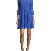 3/4-Sleeve Lace Fit & Flare Dress,