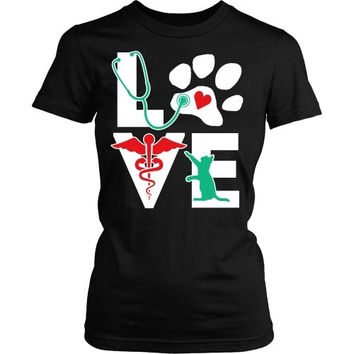 Vet Tech T Shirt - Veterinarian Love cat