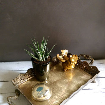 Brass Vanity Tray/ Brass Tray with handles/ Antique Brass Tray/ Vintage Brass Tray/ Ornate Brass Tray/ Brass Serving Tray