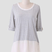 Charmante Femme Striped Top In Gray